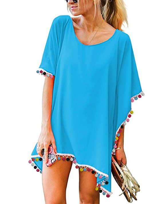 26acbb280a GDKEY Women Chiffon Tassel Swimsuit Bikini Stylish Beach Cover up at Amazon  Women's Clothing store: