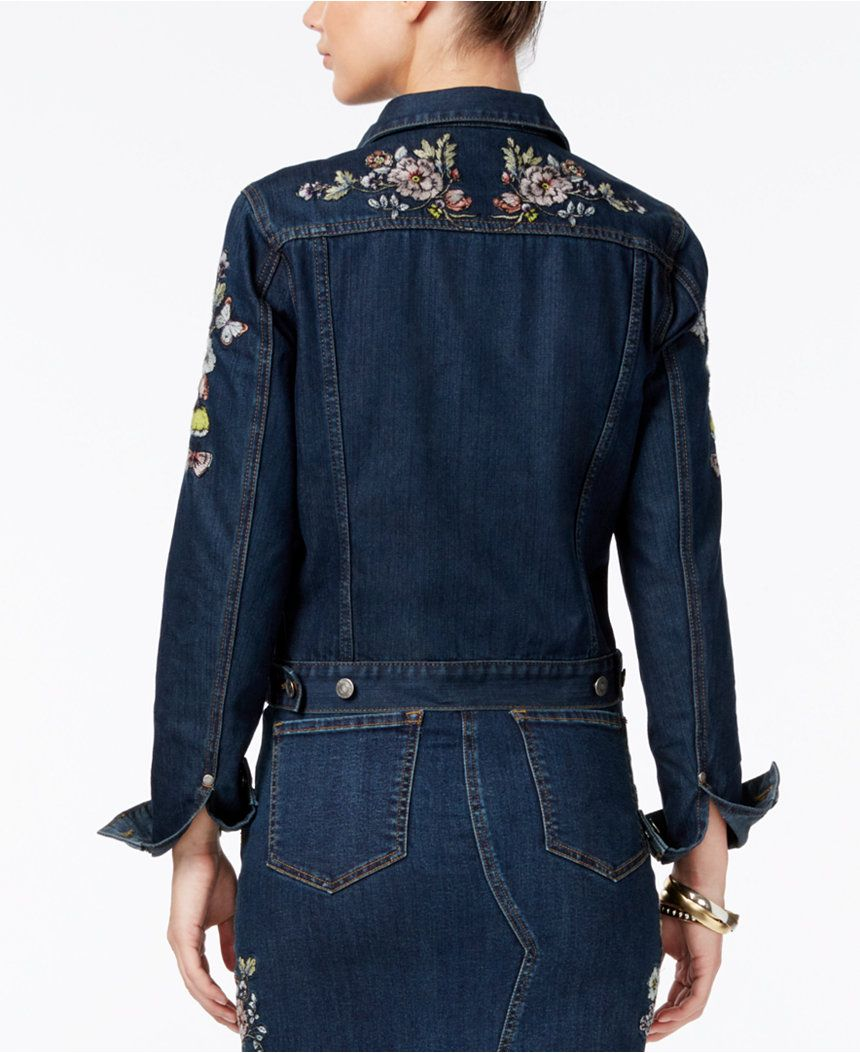 Buffalo David Bitton Floral Embroidered Denim Jacket Jackets