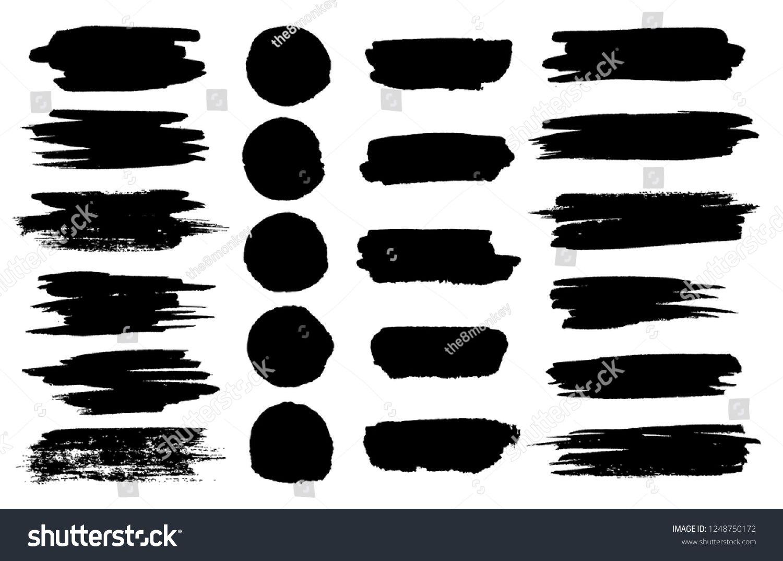 Black Paint Brush Spots Highlighter Lines Or Felt Tip Pen Marker Horizontal Blobs Marker Pen Or Brushstrokes And Dashe Paint Vector Black Paint Paint Brushes
