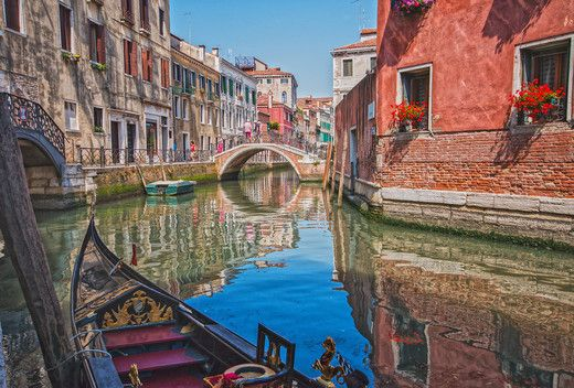 Venedig Kanal Gondoliere