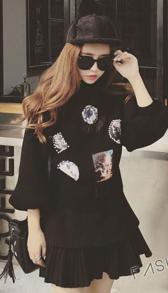 Fashiontroy Street style long sleeves black beige ribbed-knit patterned cotton blend sweater