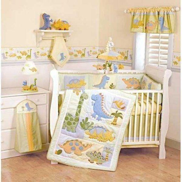 pincassidy stancil on nursery <3   dinosaur crib bedding, baby