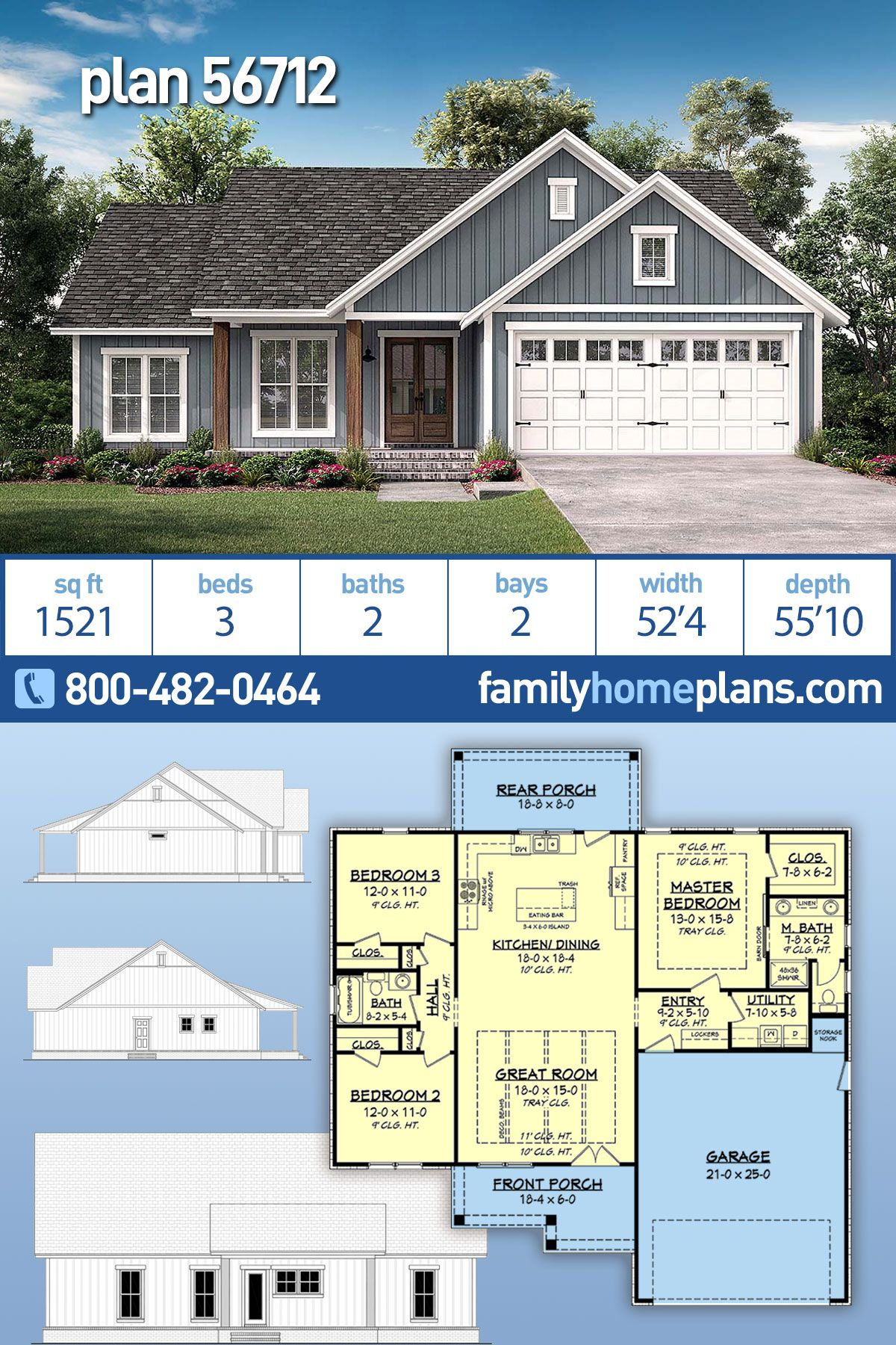 Traditional Style House Plan 56712 With 3 Bed 2 Bath 2 Car Garage House Plans Farmhouse Ranch House Plans New House Plans