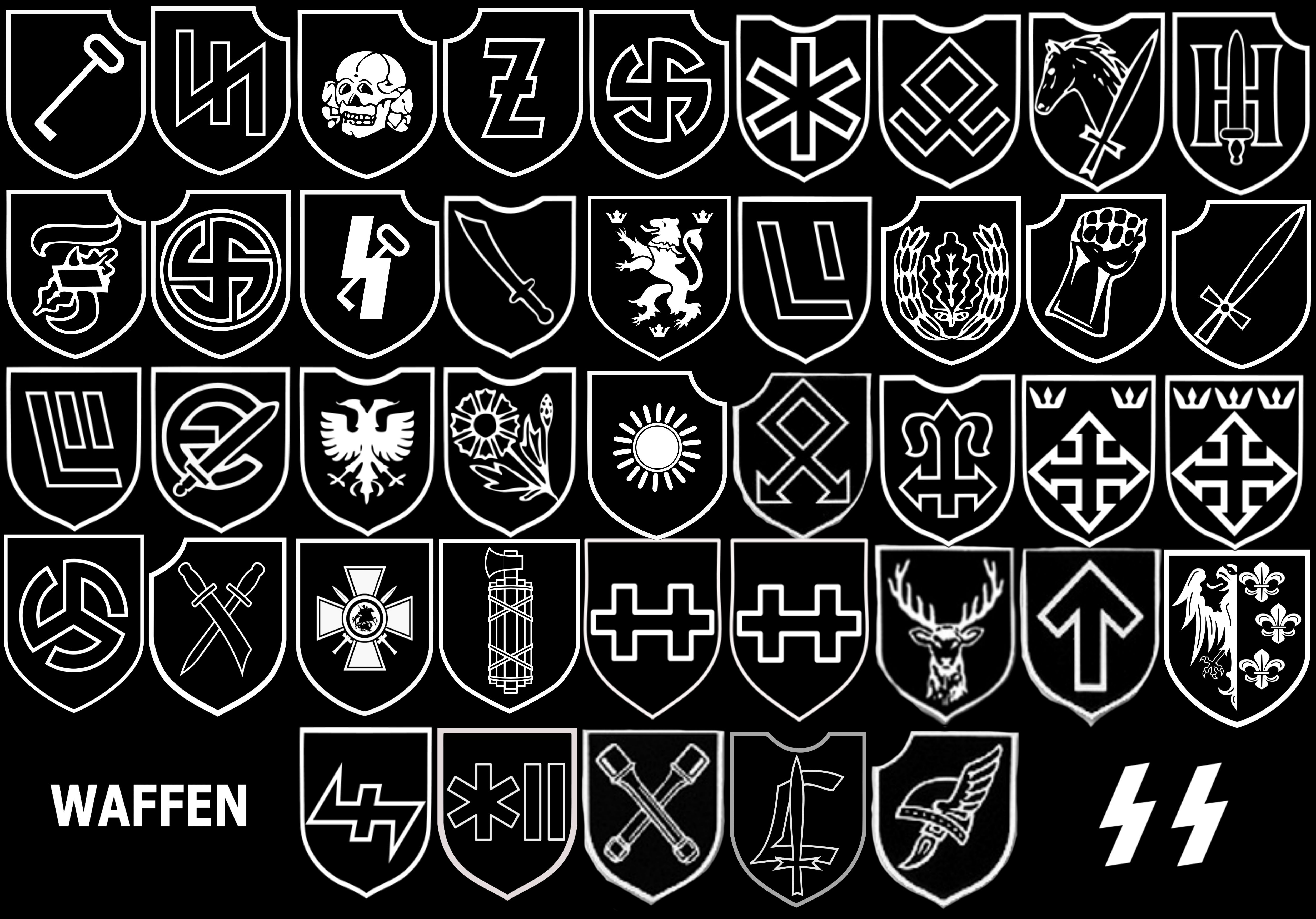 a compilation of all logos of the waffenss divisions