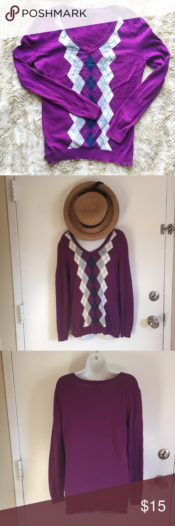 🍂SALE🍂Tommy Hilfiger V-Neck Sweater Tommy Hilfiger 100% Pima cotton v-neck sweater. Size medium. #tommyhilfiger #pima #cotton #vneck #purple #medium #punkydoodle  No modeling Smoke and pet free home I do discount bundles Tommy Hilfiger Sweaters V-Necks