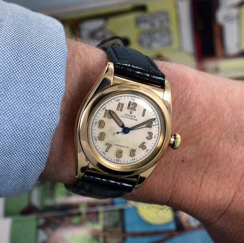 Tonight I\u0027m wearing a 14K Yellow Gold 1946 Rolex Bubbleback