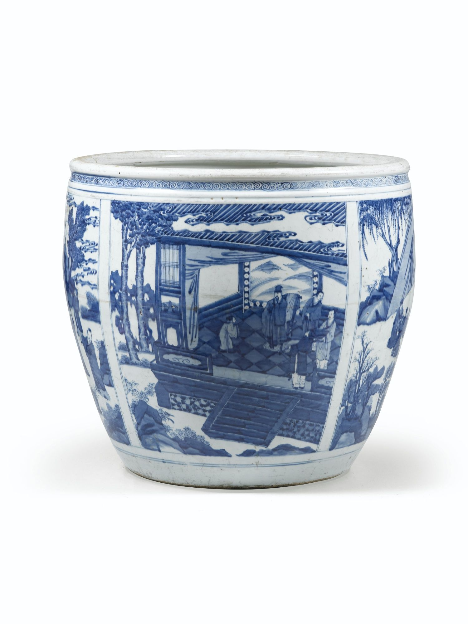 vasque en porcelaine Grande vasque en porcelaine bleu blanc Dynastie Qing, époque Kangxi
