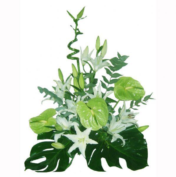 centro de flores naturales con lilium y anthurium