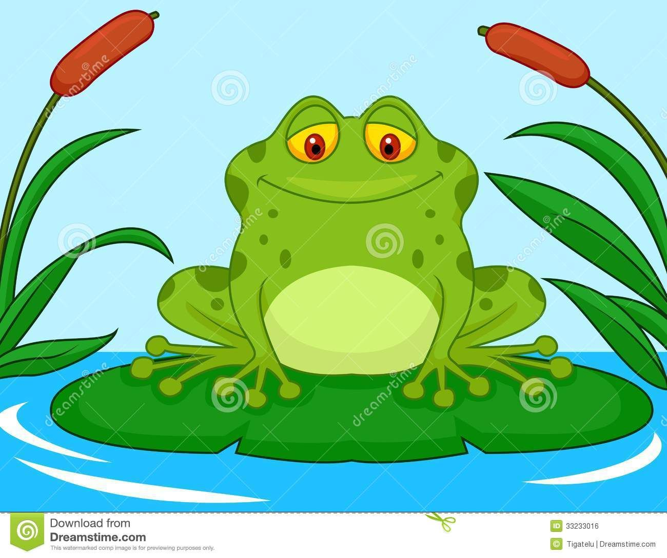 Cute Green Frog Cartoon On A Lily Pad Illustration 33233016