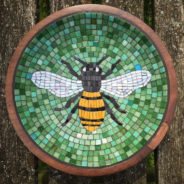 Glass Bee Mosaic In An Old Wooden Bowl Brought Back To