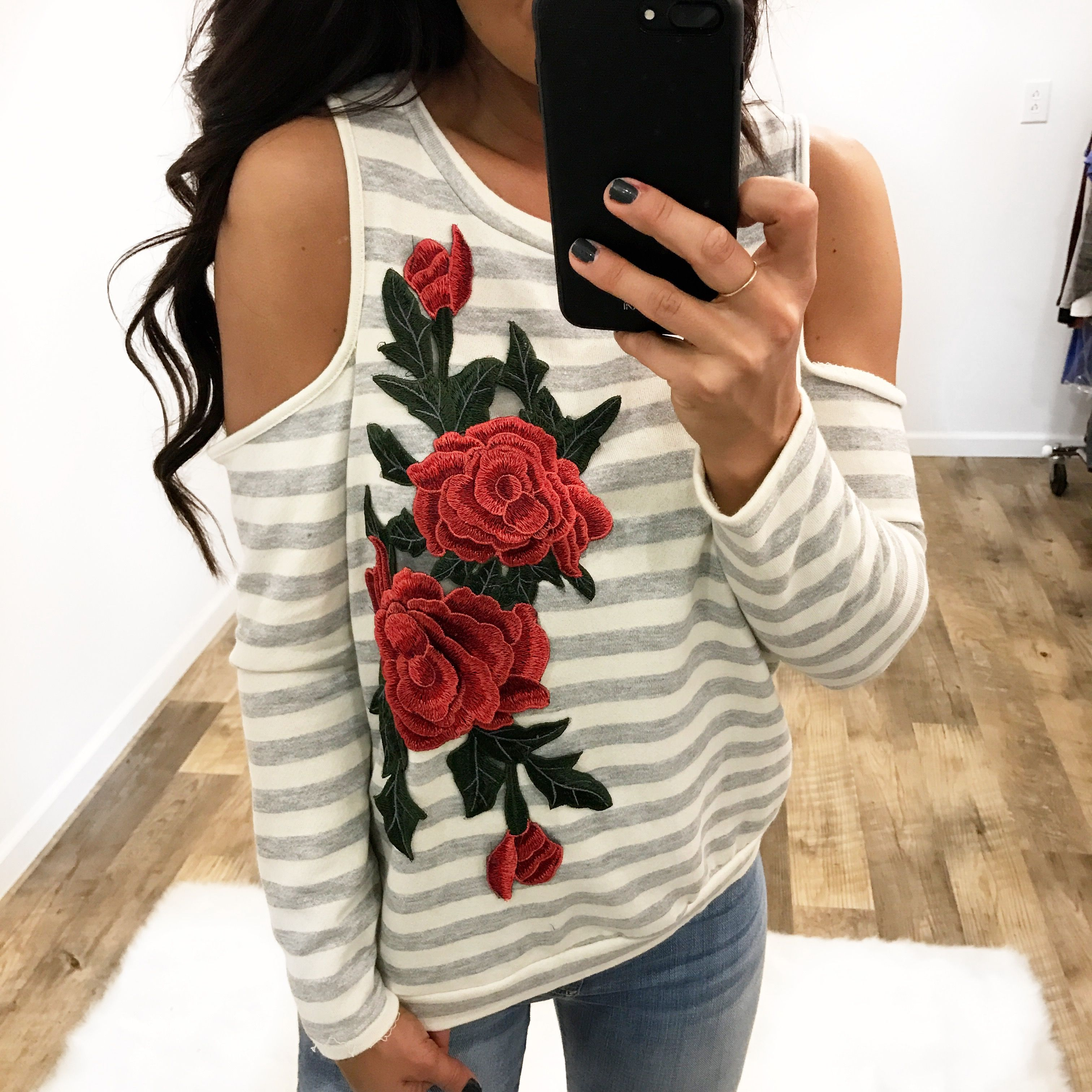 11cef7b2c6cc0d Sweet Love Floral Embroidery Detail Long Sleeve Cold Shoulder Top ...