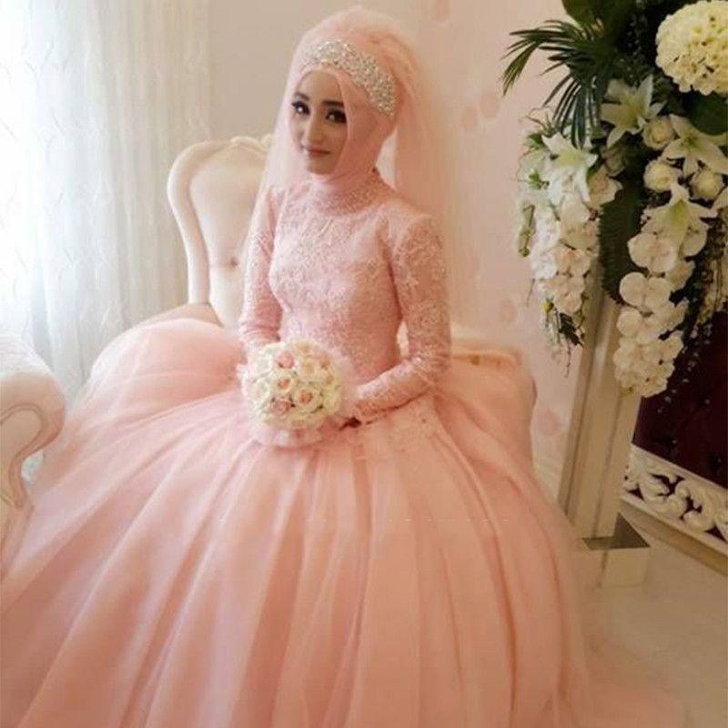 Magnifique Arabe Musulman Robe De Mariage Faite sur commande Appliques  Dentelle Robes De Mariée Col Haut À Manches Longues Hijab Robes De  Mariée(China