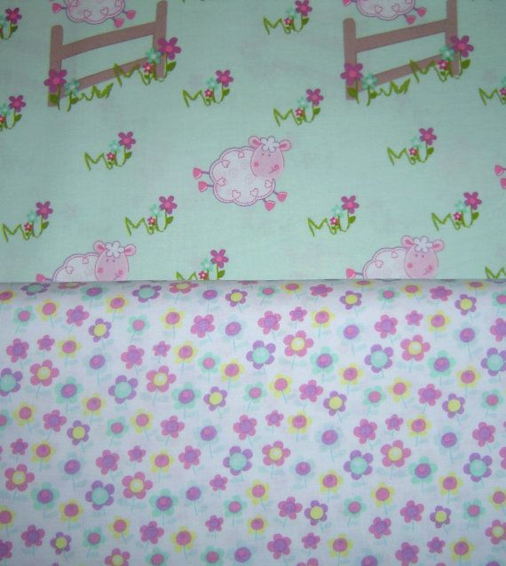 Green Fabric White Floral Fabric Pink Sheep Fabric Fat Quarters, BTY Novelty Fabric New Cotton Quilting Fabric Craft Supplies YacketUSA on Etsy, $6.49