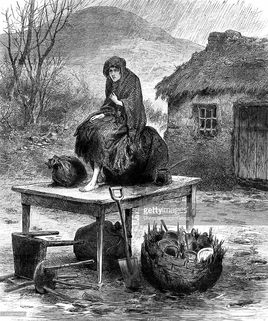 Irish peasant girl guarding the family's last few possessions after eviction for non-payment of rent. From The Illustrated London News, April 1886 Wood engraving