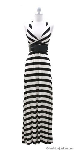 Striped Low Cut Halter Long Maxi Dress with Belt-Black and Beige