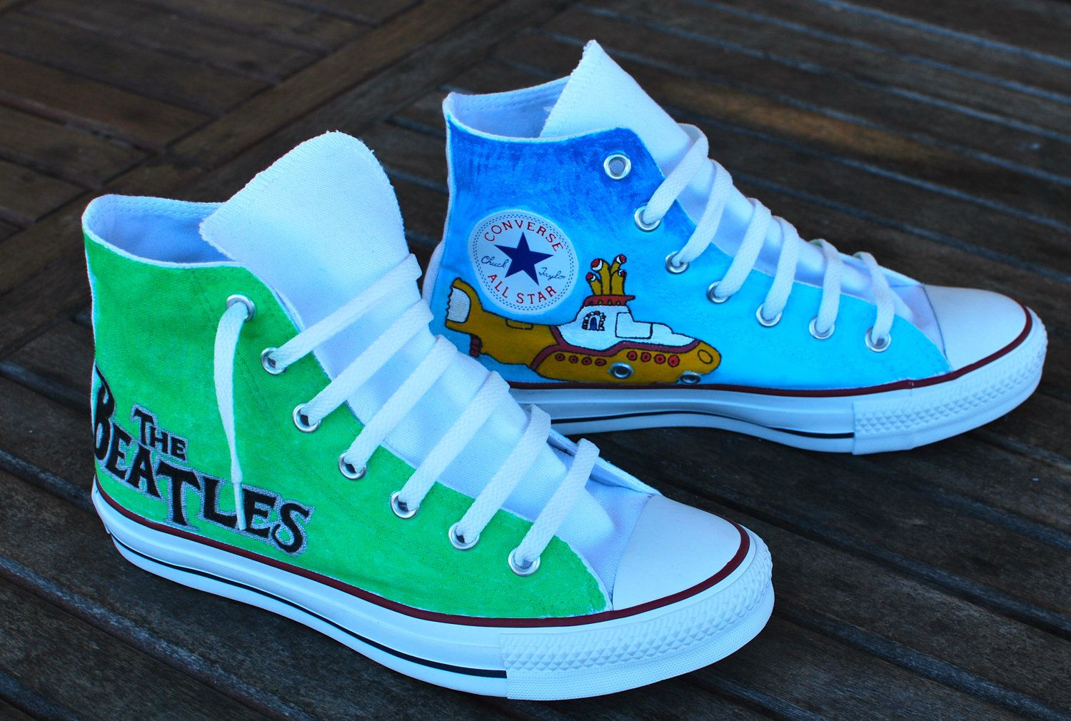 9263572efbd0 Hand Painted Beatles Converse Chuck Taylor All Star Hi Tops.  179.00 ...