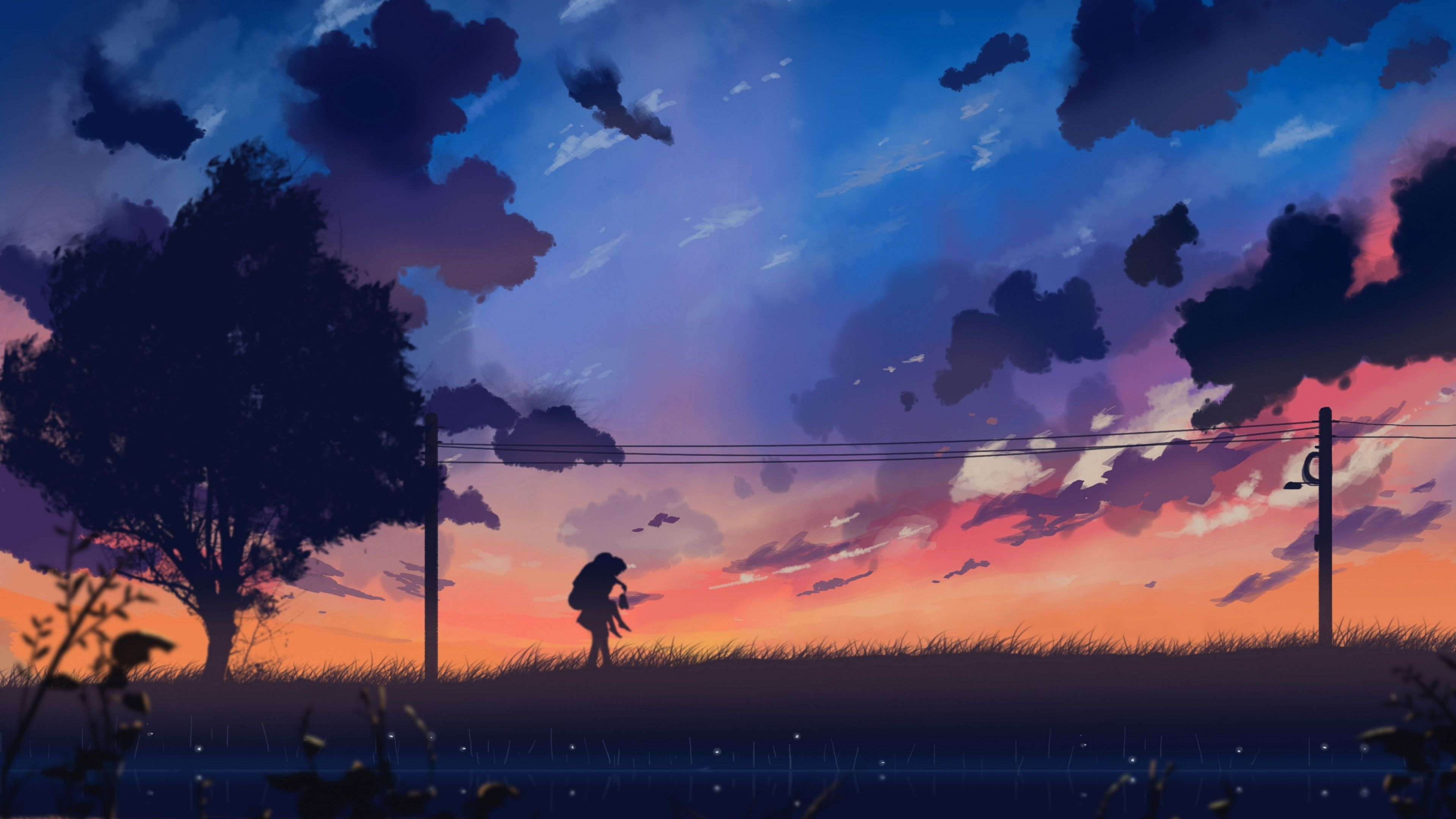 Boy Carrying Girl On His Shoulders Digital Art In 2021 Anime Scenery Anime Wallpaper Scenery Wallpaper Desktop wallpaper anime landscape