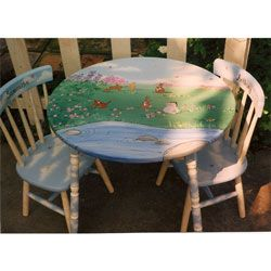 400.00 Winnie the Pooh and Tigger Too The table and chair set features a hand painted scene in the beautiful Hundred Acre Woods with everyones favorite ...  sc 1 st  Pinterest & 400.00 Winnie the Pooh and Tigger Too The table and chair set ...