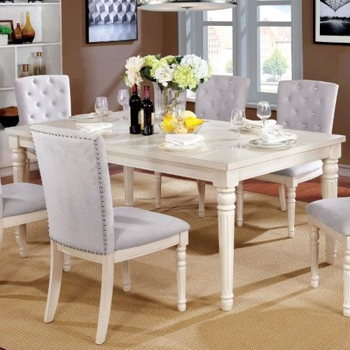 Furniture Of America Lombard Vintage Dining Table White Dining Table Vintage Dining Table Wooden Dining Room Chairs