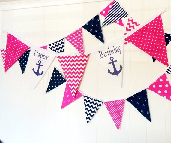 Pin By Storytelling On Happy Fabric: Happy Birthday Anchor Fabric Banner, Nautical Bunting, 5