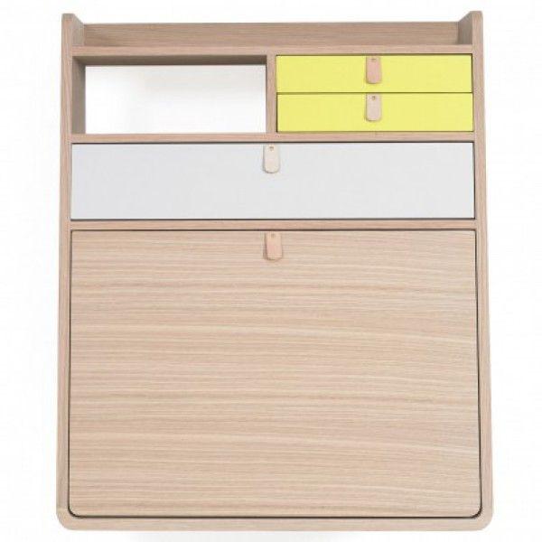 Wand-Schreibtisch Gaston-Gelb und hellgrau - Kinderzimmer - Mami and Me
