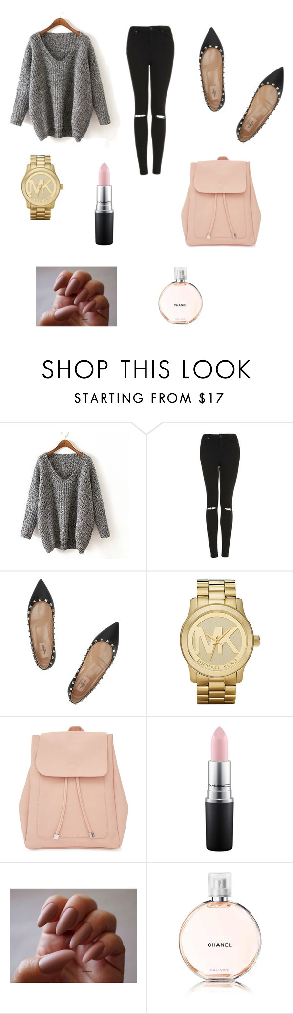 """""""Untitled #84"""" by sadiecoda on Polyvore featuring Topshop, Valentino, Michael Kors, New Look, MAC Cosmetics and Chanel"""