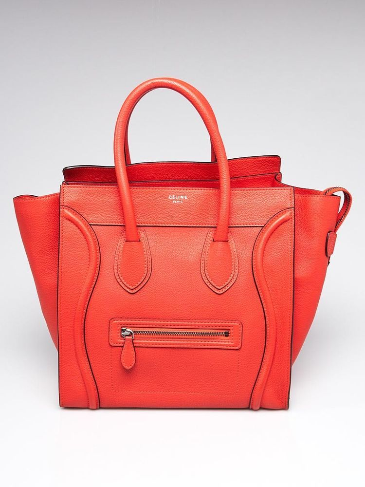Celine Orange Drummed Leather Mini Luggage Tote Bag  Celine  EverydayBags  totes 5c71fa8bad2a3