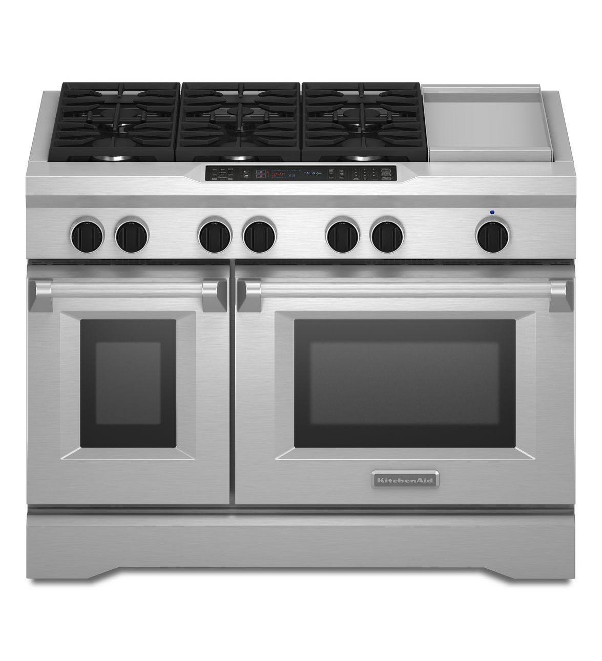 KitchenAid® 48 Inch 6 Burner With Griddle, Dual Fuel Freestanding Range,