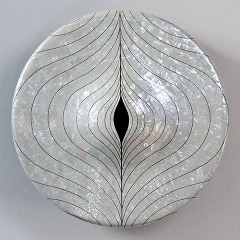 """Myung Sun Kang, South Korea, 2012  """"From the Glitter"""" wall-hung cabinet in mother of pearl inlaid on black lacquered wood.    9.45"""" H x 23.23"""" D  /  24.00cm H x 59.00cm D"""