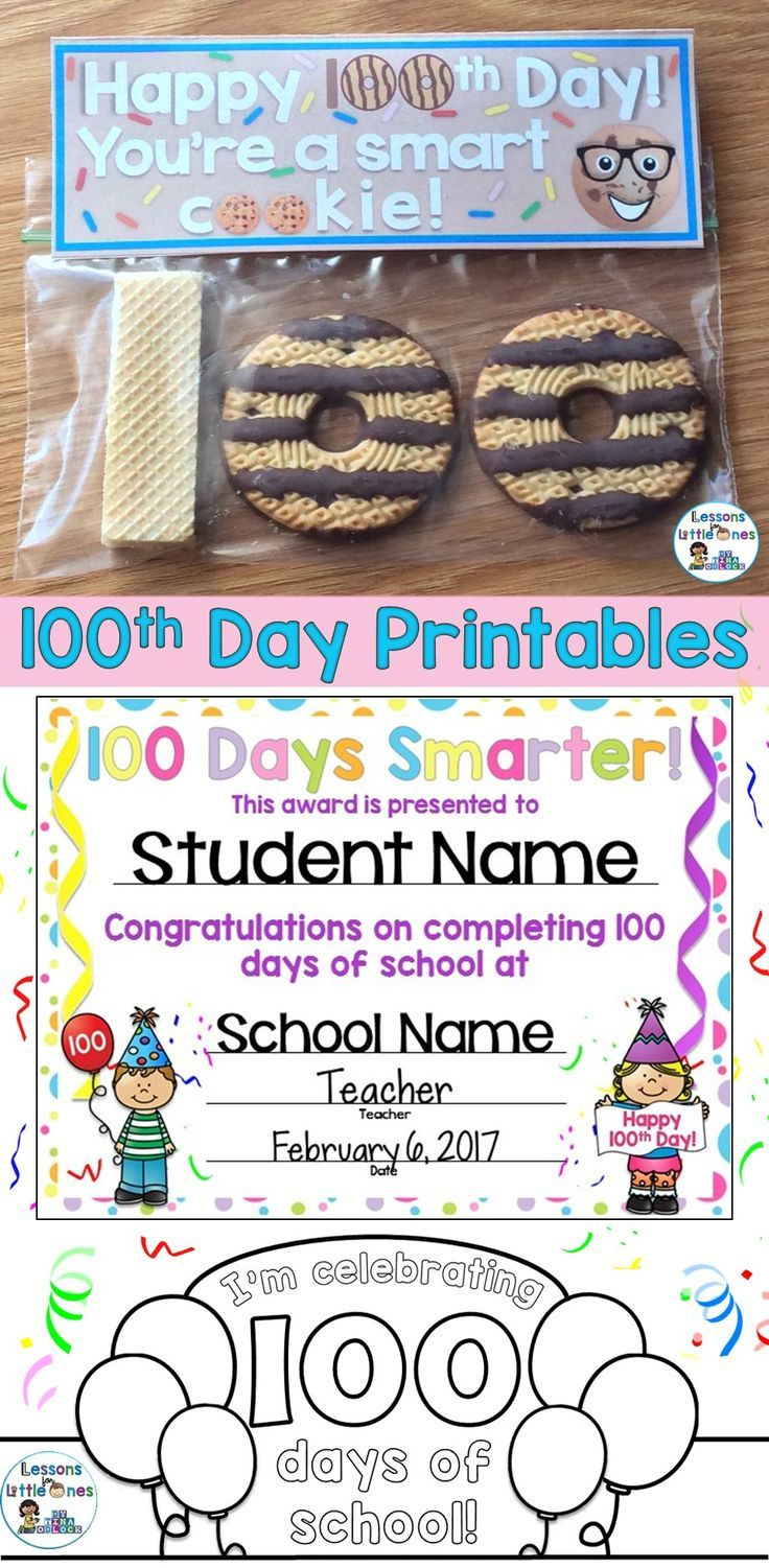 100th Day Of School Awards Certificates Crown Treat Tags Pages Editable 100th Day Of School Crafts School Celebration 100 Day Of School Project