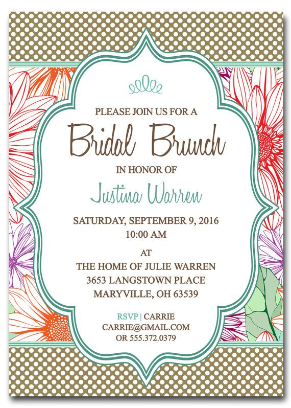 Bridal Shower Brunch Invitation  Bridal Brunch  Digital