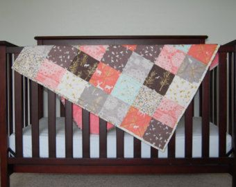 Woodland Baby Quilt | Michael Miller | Baby Girll | Coral, Brown, Tan, Gold Highlights, Deer, Forest, Light Coral Minky Backing