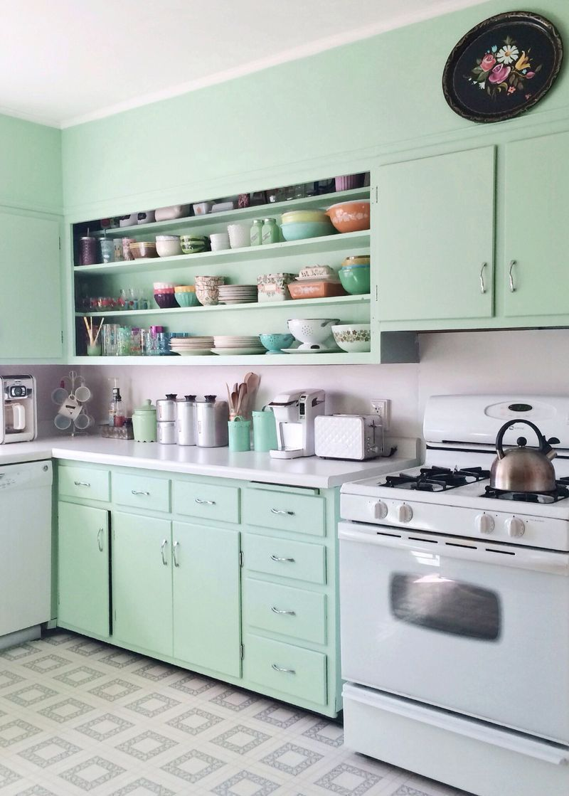 23 Green Kitchen Cabinets Ideas For Your Kitchen Interior Green Kitchen Cabinets Retro Kitchen Kitchen Design