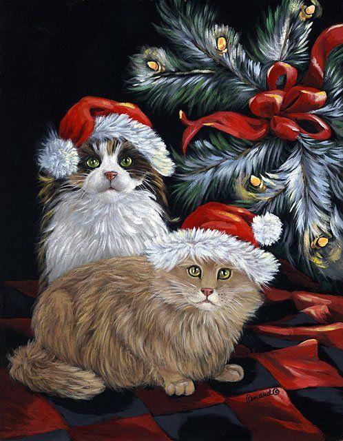 christmas and santa claus cats card for xmas and holidays free