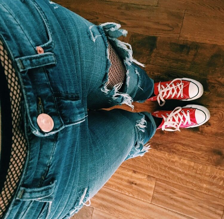 Ripped Converse Tights Fishnet Island Boyfriend Jeans River Red PrxwZPFq