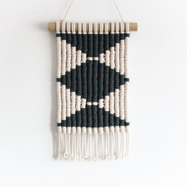 Macrame Wall Hanging Woven Geometry 100 Cotton Cord In Charcoal 98 Liked On Polyvore Featuring H Macrame Wall Hanging Macrame Design Macrame Headboard