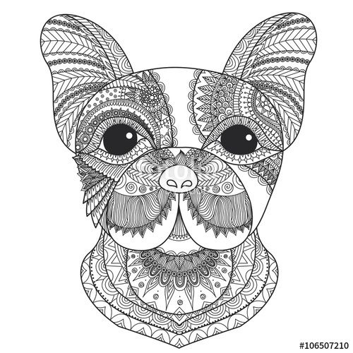 Vector French Bulldog Puppy Zentangle Stylized For Coloring Book Adult Tattoo T
