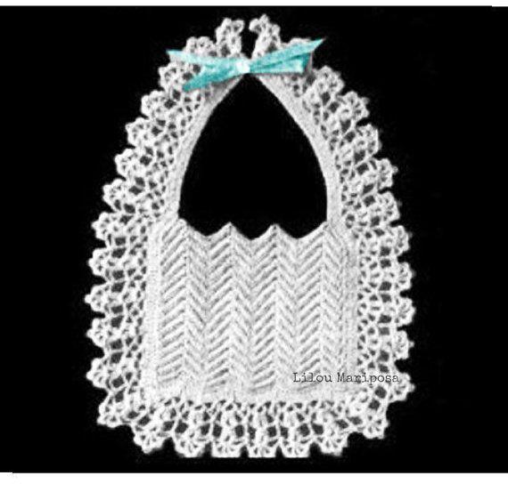 Crochet BIB Pattern Vintage 40s Crochet baby bib pattern Crochet ...