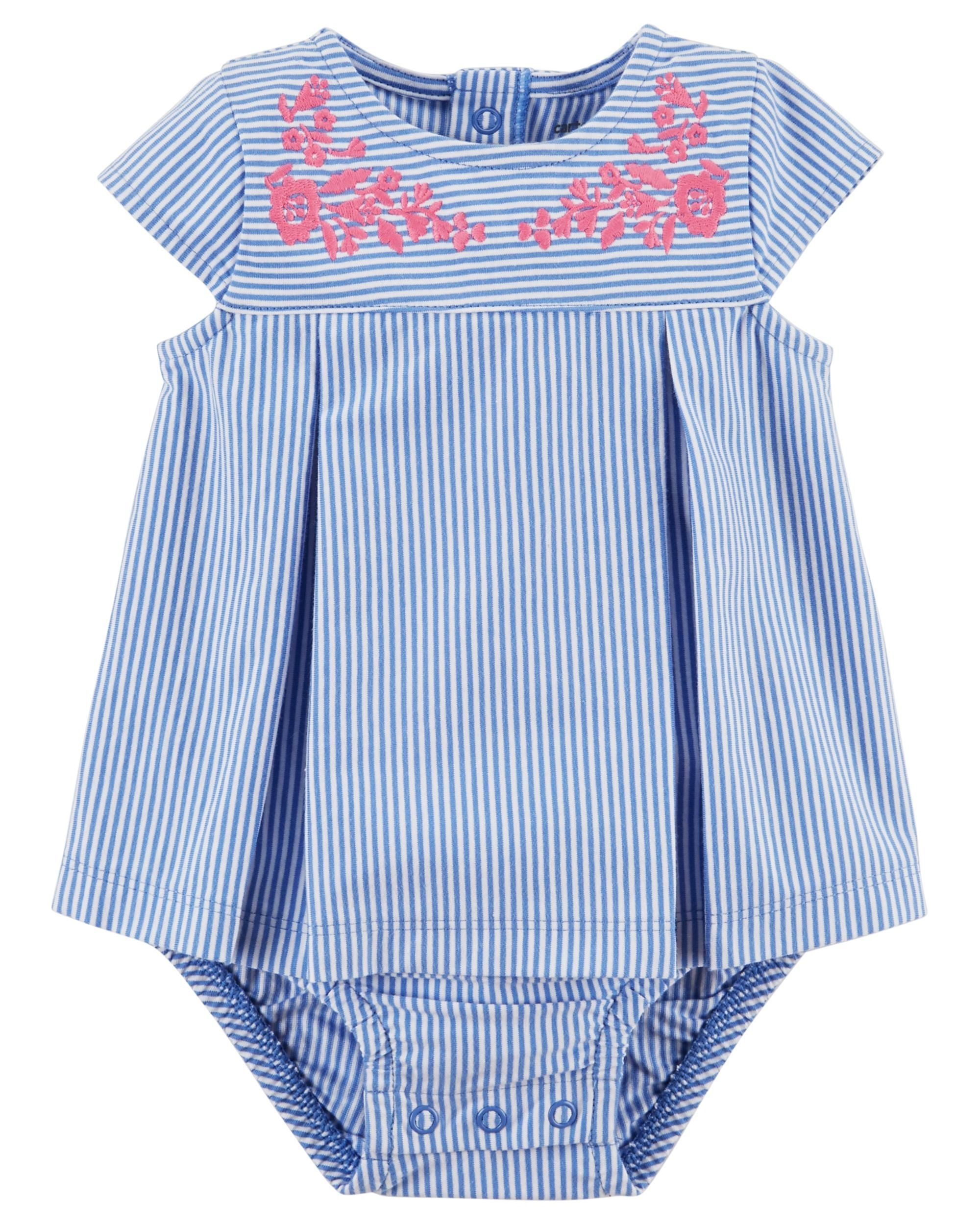 b0ce3756c47 Baby Girl Embroidered Sunsuit