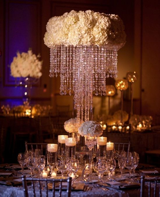 Wedding Reception Glamorous Centerpieces With Sparkly Dangling Crystals