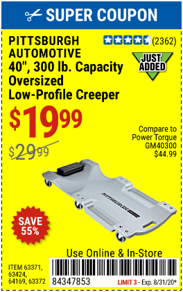Pittsburgh Automotive 40 In 300 Lbs Capacity Low Profile Creeper For 19 99 Harbor Freight Tools Harbor Freight Coupon Low Profile