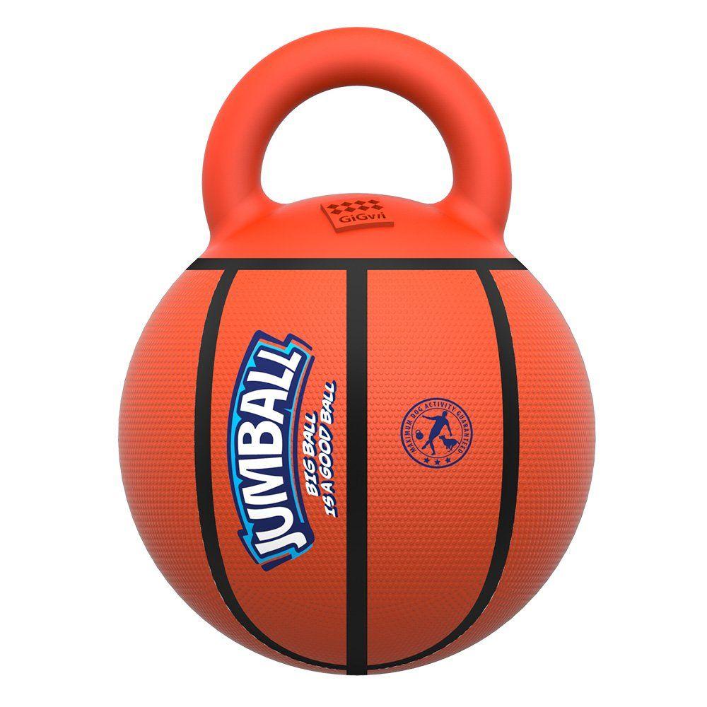 Gigwi Jumball Dog Tug And Toss Interactive Toy Basketball Ball With Handle Dog Toy Diameter 7 9 Inches Excercise Ball For Dog Ball Dog Toy Ball Excercise Ball