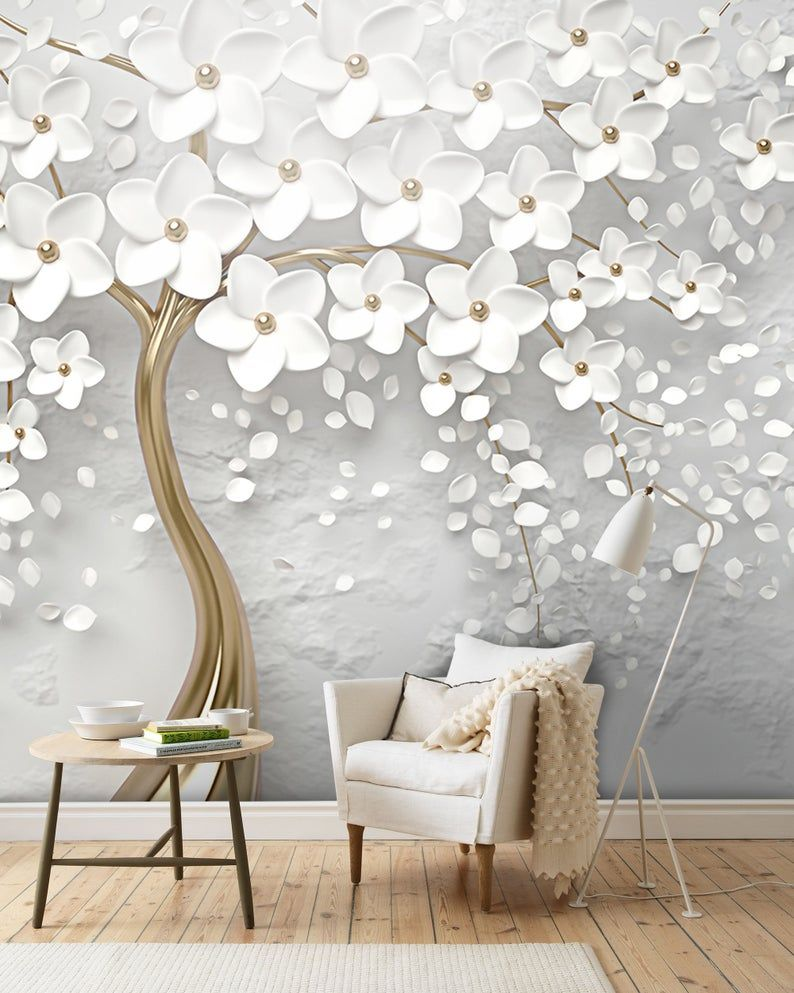 3d Gold Tree Floral White 3d Floral Wall Mural Wall Art Fl