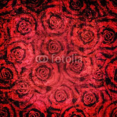 Grunge vintage floral red roses pattern background