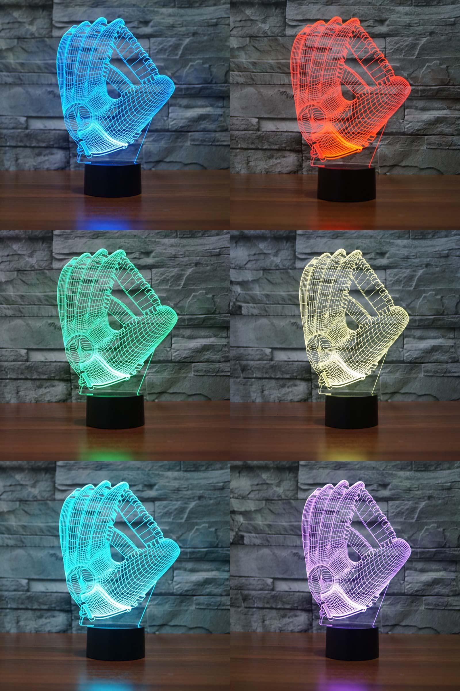 [Visit To Buy] Glove Night Light Pediatrics 7 Colors Changing Touch Button  Led Table