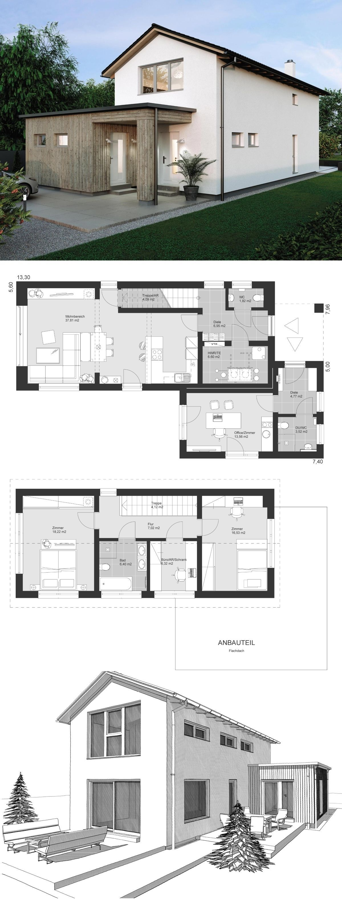Einfamilienhaus Neubau im Landhausstil Grundriss auch als