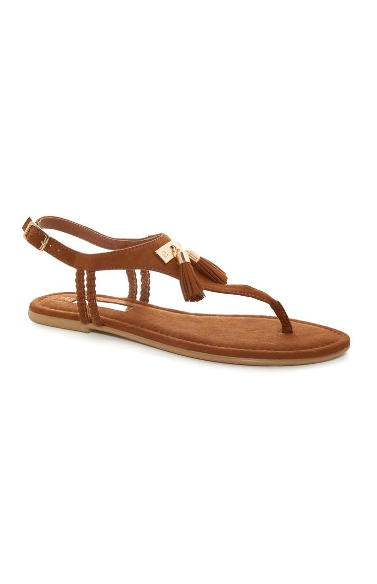 d274b9e5750cf Primark - Tan Tassel Sandals   Primark   Primark shoes, Sandals ...