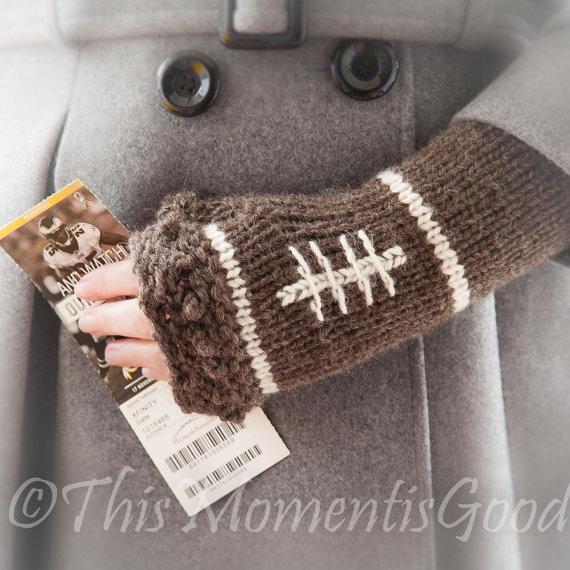 Loom Knit Fingerless Mitts PATTERN. Football themed mitts pattern ...