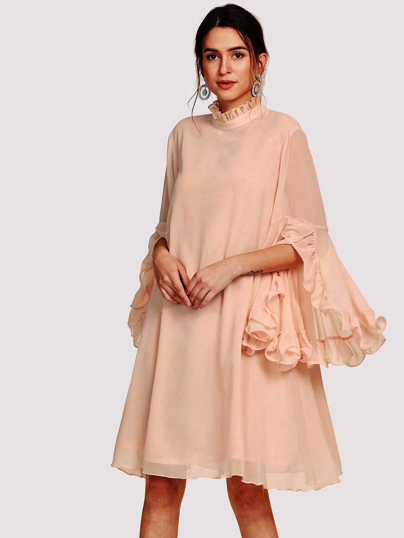 Loose Stand Collar Three Quarter Length Sleeve Natural Beige and Pastel Midi Length Frill Sleeve And Cuff Flowy DressbeigeRomantic Tunic Plain Loose Stand Collar Three Qu...