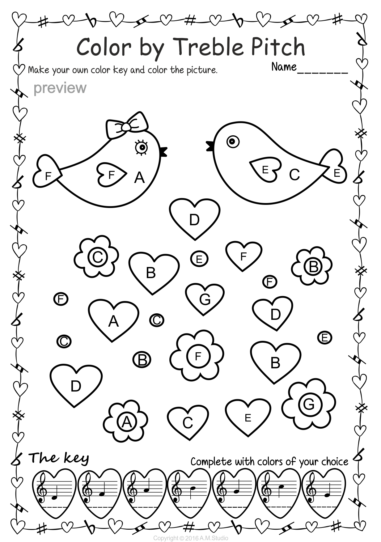 Valentine S Day Music Activity Color By Treble Pitch